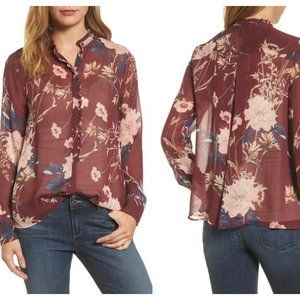 Lucky Brand Ruffle Sheer Floral Top Blouse
